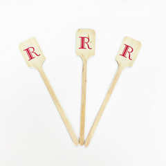 Wood Drink Stirrers - Monogram Letter R