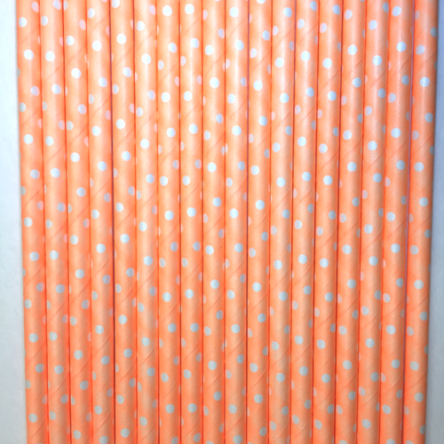 Neon Orange with White Polka Dots Paper Straws -Set of 25