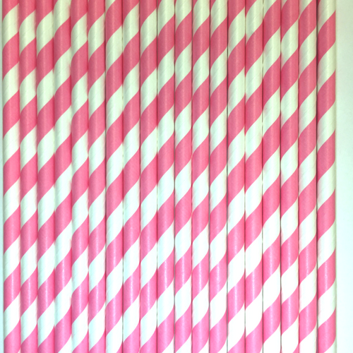 Pink Striped Paper Straws -Set of 25