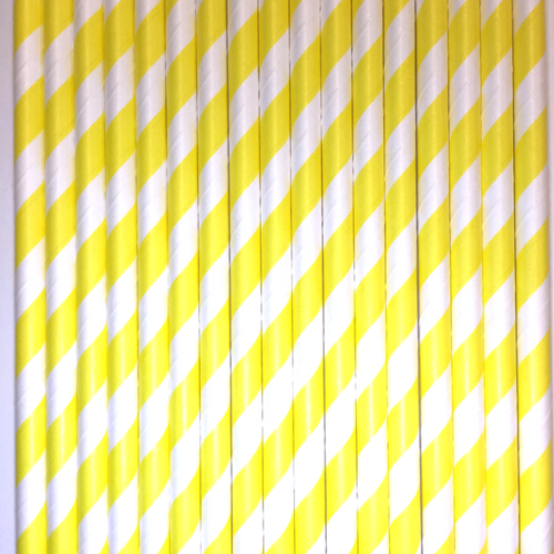 Yellow Striped Paper Straws -Set of 25