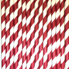 Red Striped Paper Straws -Set of 25