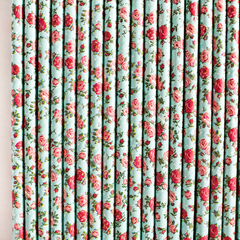 Blue & Red Floral Paper Straws -Set of 25