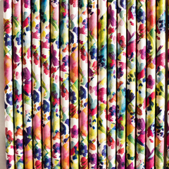 Watercolor Floral Paper Straws -Set of 25