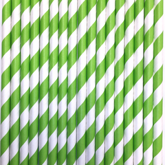 Lime Green Striped Paper Straws -Set of 25