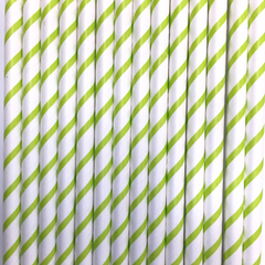 Thin Lime Striped Paper Straws -Set of 25