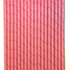 Red Weave Design Paper Straws