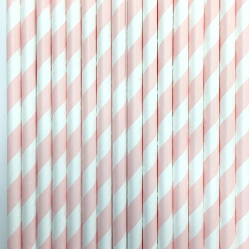 Light Pink Striped Paper Straws -Set of 25