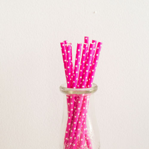 Pink with White Polka Dots Paper Straws