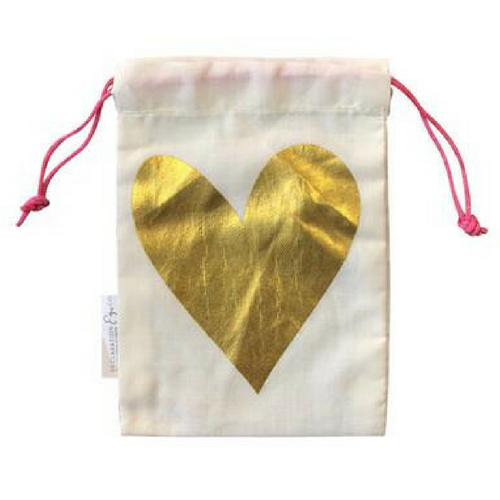 Gold Heart Gift Bag