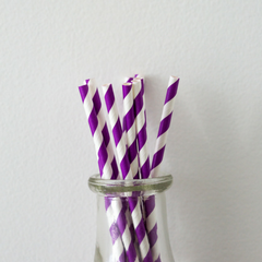 Purple Striped Paper Straws -Set of 25
