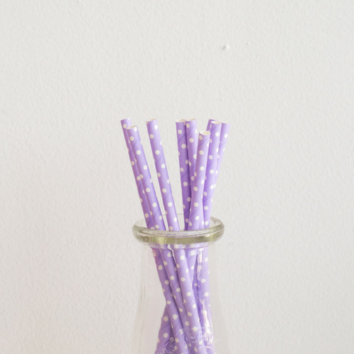 Purple with White Polka Dots Paper Straws