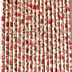 Pink Floral Paper Straws -Set of 25