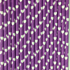 Purple with White Hearts Paper Straws -Set of 25
