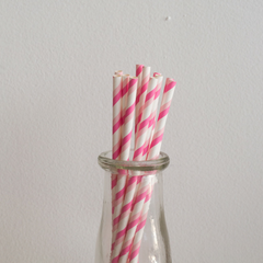 Two-Toned Pink Striped Paper Straws -Set of 25