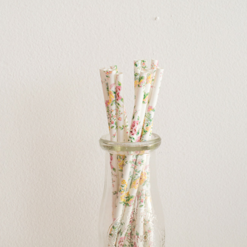 White & Pastel Floral Paper Straws