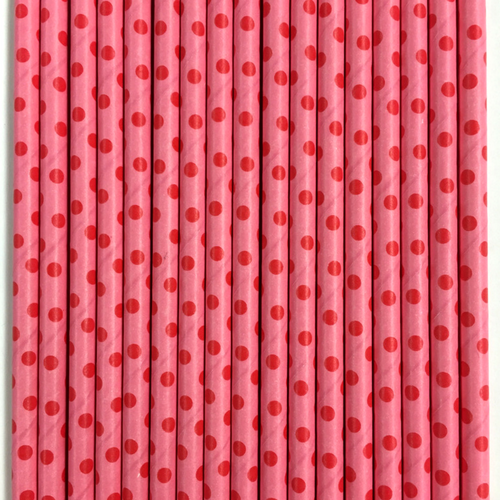 Pink with Red Polka Dots Paper Straws