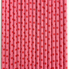 Pink with Red Polka Dots Paper Straws -Set of 25