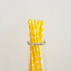 Yellow with White Hearts Paper Straws-Set of 25