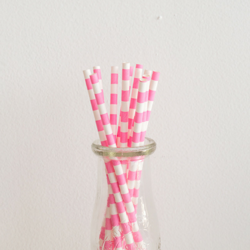 Pink Rugby Striped Paper Straws -Set of 25