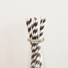 Black Striped Paper Straws -Set of 25