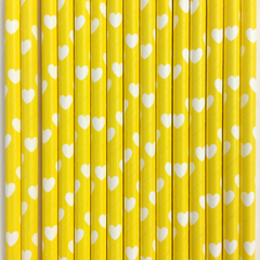 Heart Patterned Paper Straws  -Set of 25