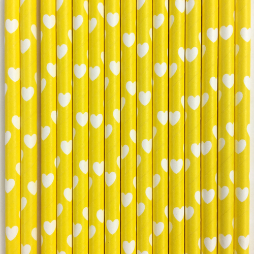 Yellow with White Hearts Paper Straws