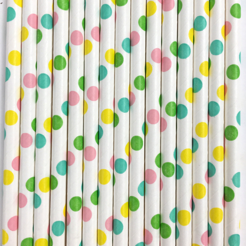 Pastel Polka Dots Paper Straws -Set of 25