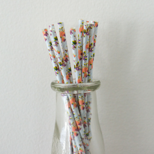Blue & Purple Floral Paper Straws