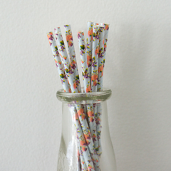 Blue & Purple Floral Paper Straws -Set of 25