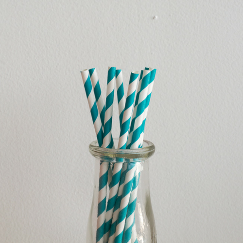 Teal Striped Paper Straws