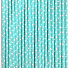 Blue with White Polka Dots Paper Straws -Set of 25