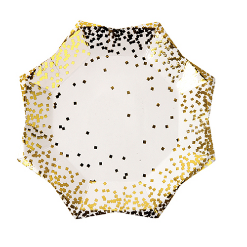 Gold Confetti Starburst Small Plate