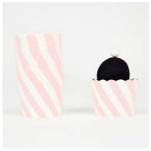 Light Pink Diagonal Stripes - Baking Cups