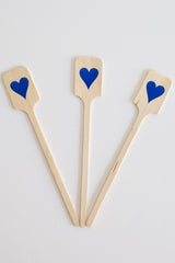 Wood Drink Stirrers - Blue Foil Hearts