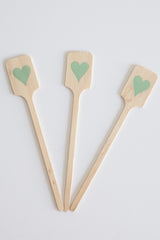 Wood Drink Stirrers - Light Blue Foil Hearts