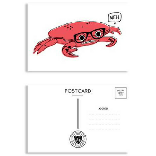 Hipster Crab Postcard