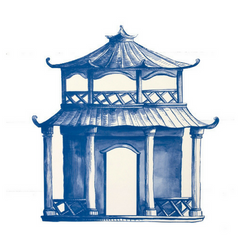China Blue Pagoda Paper Placemats