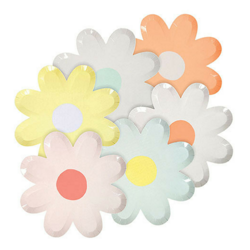 die cut pastel daisy paper party plates