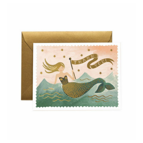cute vintage mermaid thank you cards