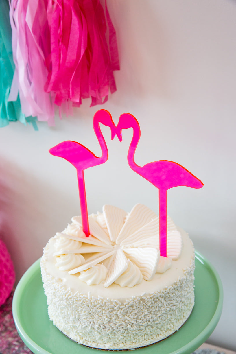 Kissing Flamingos Cake Topper