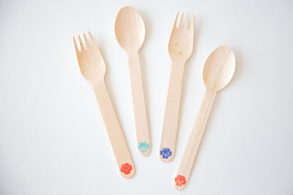 Paw Stamped Wooden Cutlery