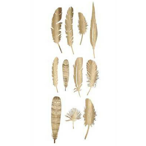 "10""L Paper Feathers In Box, Gold Finish, Set of 22"