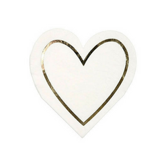 gold heart outline white paper party napkins