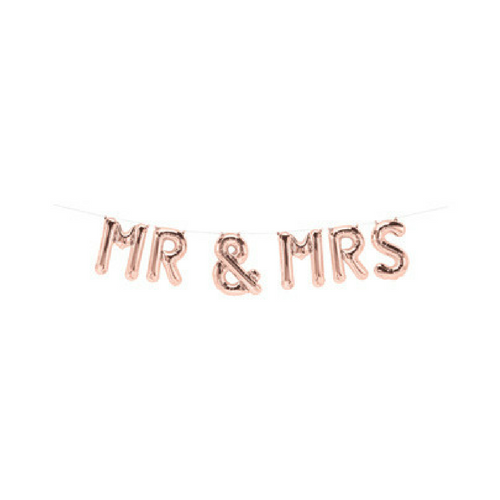 mr and mrs rose gold balloon banner