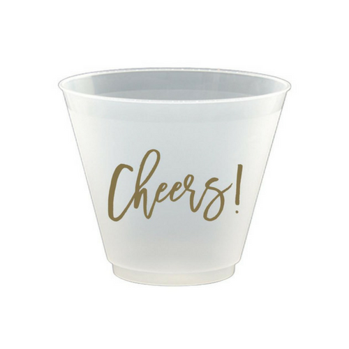 frosted cups with gold cheers script