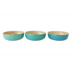 "9-3/4"" Round x 3""H Lacquered Bamboo Salad Bowl, 3 Colors"