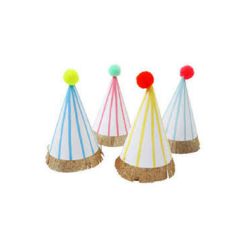 Neon Striped Party Hats