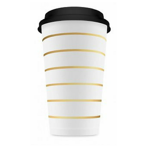 Fun Coffee Cups - Gold Striped