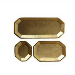 "8-1/4""L x 3-1/2""W, 5-1/4""L x 3-1/2""W & 3-1/2""L x 2-3/4""W Decorative Aluminum Trays, Gold Finish"