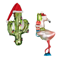 Festive Ornament - Cactus & Flamingo